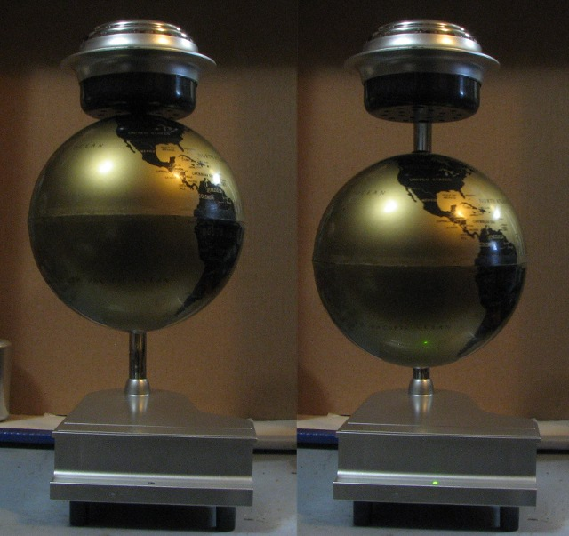Two views of the floating globe